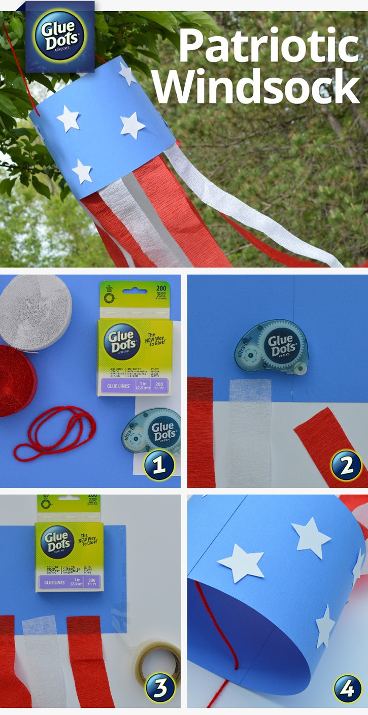 4th of July Kids Craft from Glue Dots - Paper Windsock