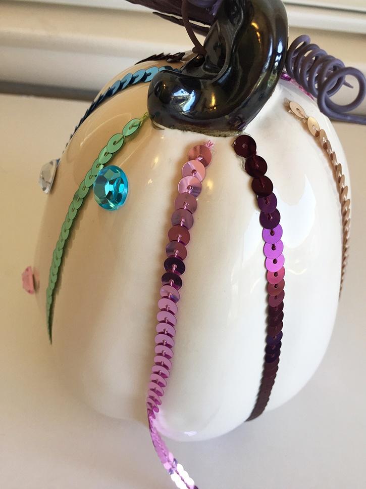 glue-dots-decorative-ceramic-pumpkins-adding-embellishments.jpg