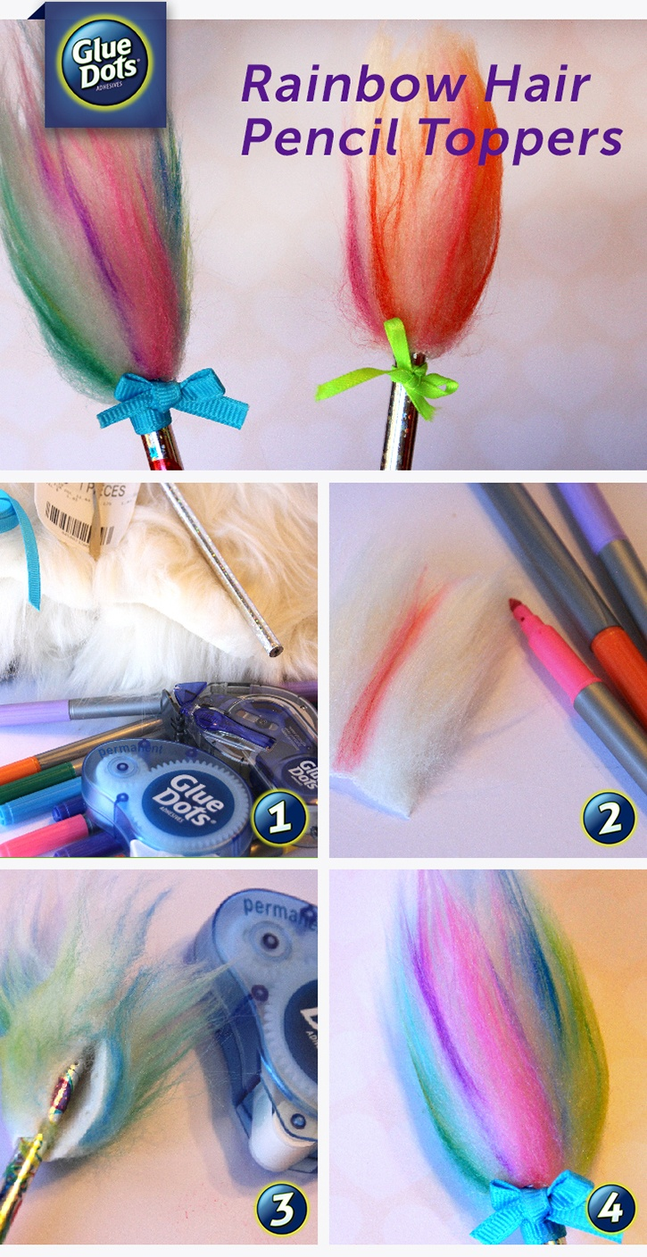 Make Rainbow Hair Pencil Toppers with Glue Dots!
