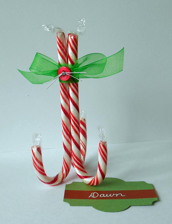 Candy cane place card holders for Place settings name card holders