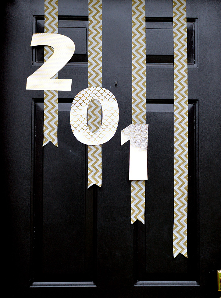 Glue-Dots-New-Years-Door-Decor-attach-numbers