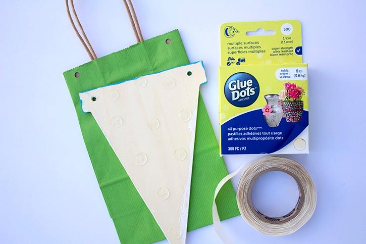 Banner Birthday Gift Bag all purpose glue dots step copy