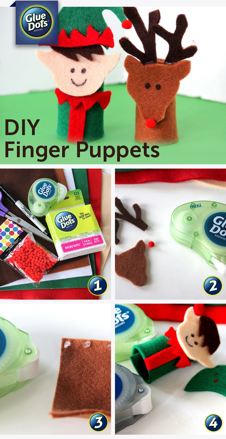 Christmas Felt Finger Puppets Kids Craft Made with Glue Dots.