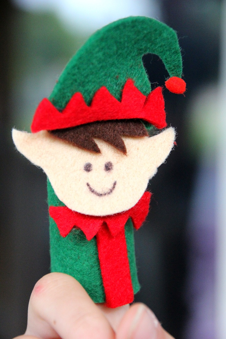 Elf Felt Finger Puppet Made with Glue Dots