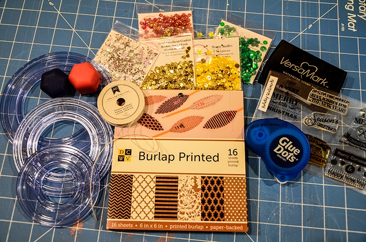Make Shaker Ornaments with Glue Squares and a few supplies