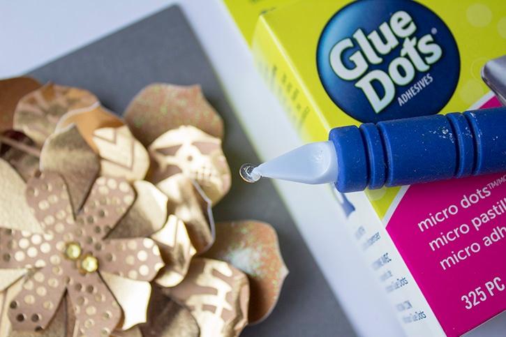 3D Gold Floral Wedding Card Micro Glue Dots step