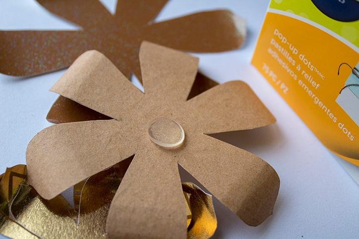 3D Gold Floral Wedding Card Pop Up Glue Dots step (1)