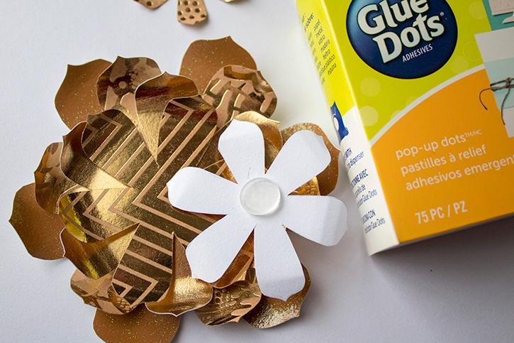 3D Gold Floral Wedding Card Pop Up Glue Dots step (2)