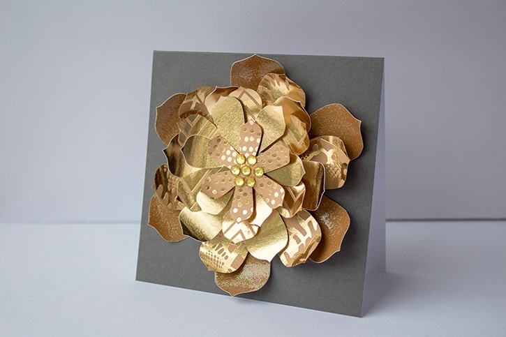 3D Gold Floral Wedding Card finished horizontal (5)