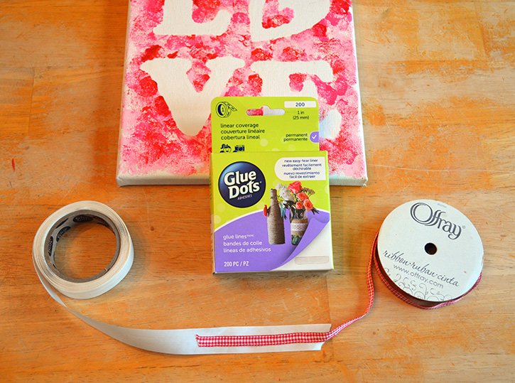 Glue-Dots-LOVE-canvas-adhere-ribbon