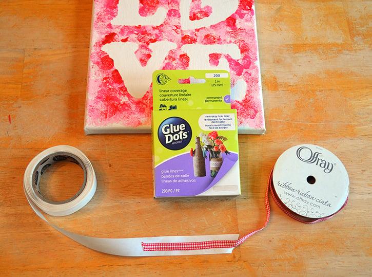 Glue-Dots-LOVE-canvas-adhere-ribbon