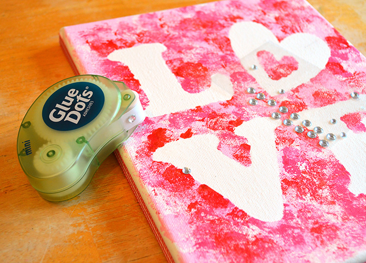 Glue-Dots-LOVE-canvas-embellish