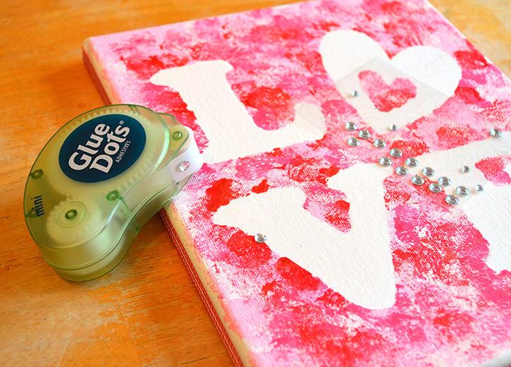 Glue-Dots-LOVE-canvas-embellish