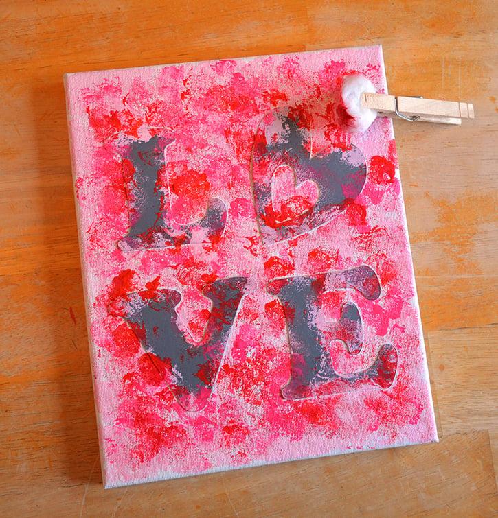 Glue-Dots-LOVE-canvas-paint