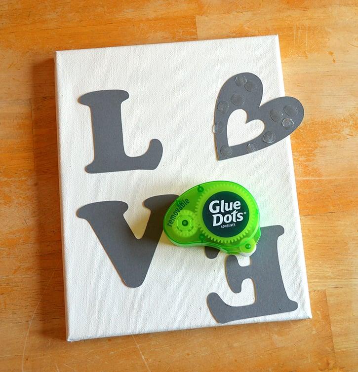 Glue-Dots-LOVE-canvas-stencil