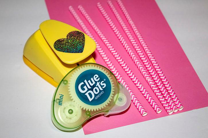 Glue-Dots-Valentine-Straws-supplies