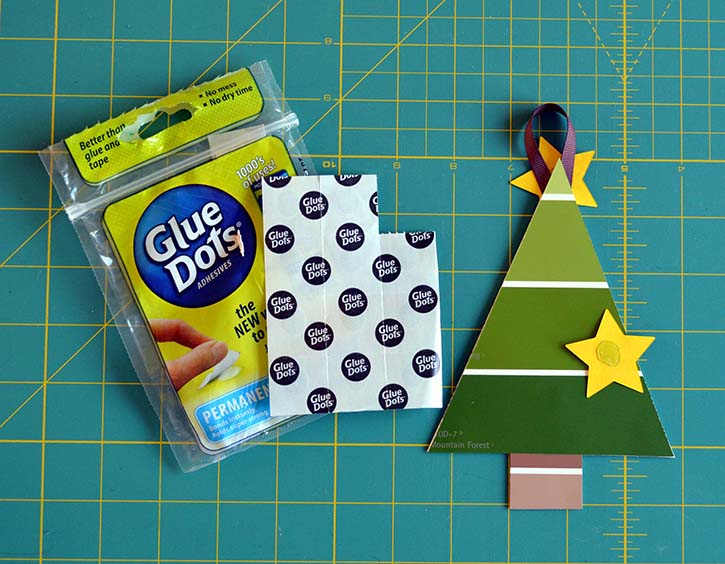 Make paint chip Christmas trees with kids easy with Glue Dots.