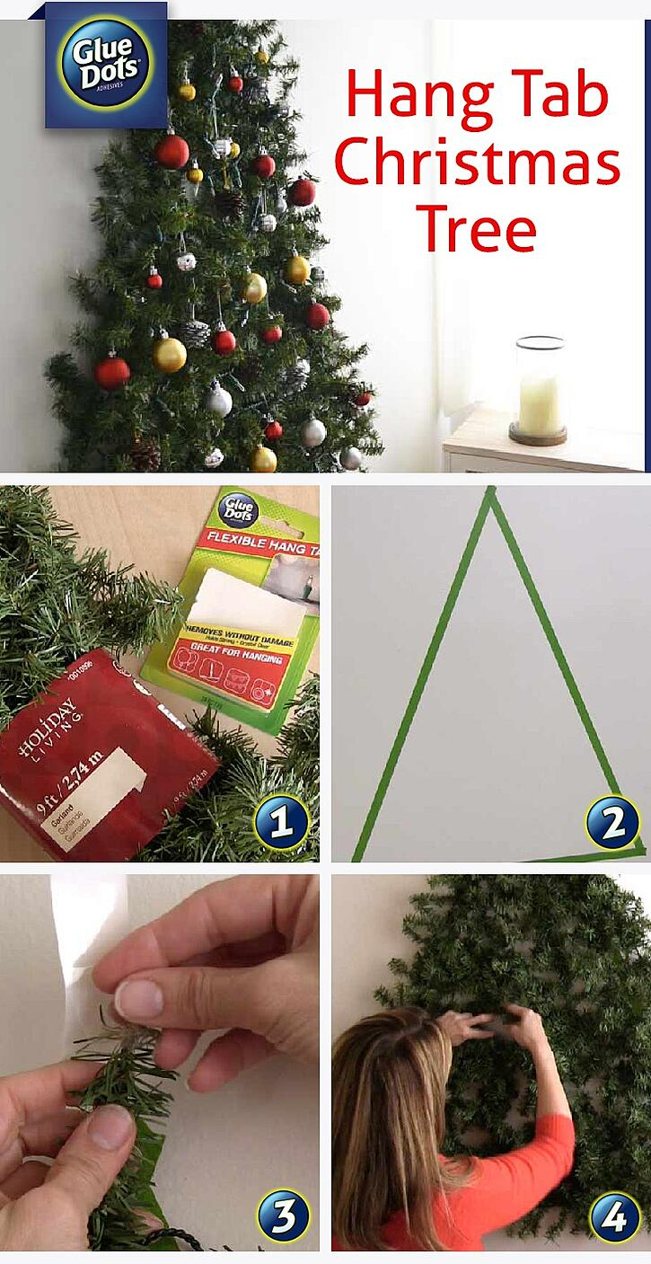 Make a wall-mounted Christmas tree with Glue Dots Flexible Hang Tabs - available on Amazon!
