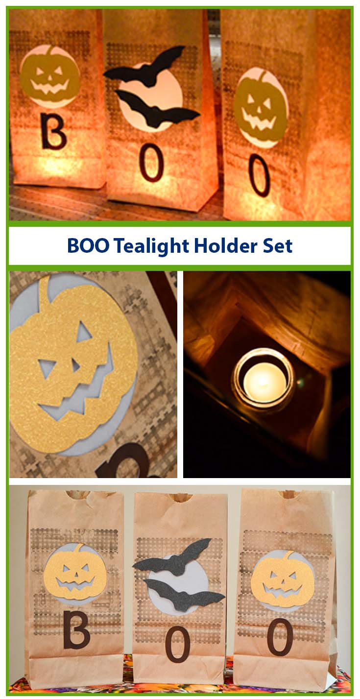 "Welcome kids and families to your front door with Halloween ""Boo"" Tea Light Lantern Set! #GlueDots"