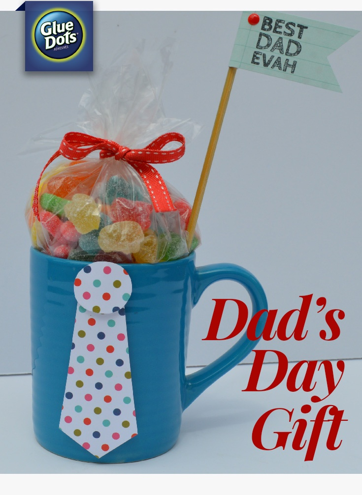 Need a small gift that's easy to put together for Father's Day? Make a candy mug. All you need is paper, Glue Dots, candy, and a mug.