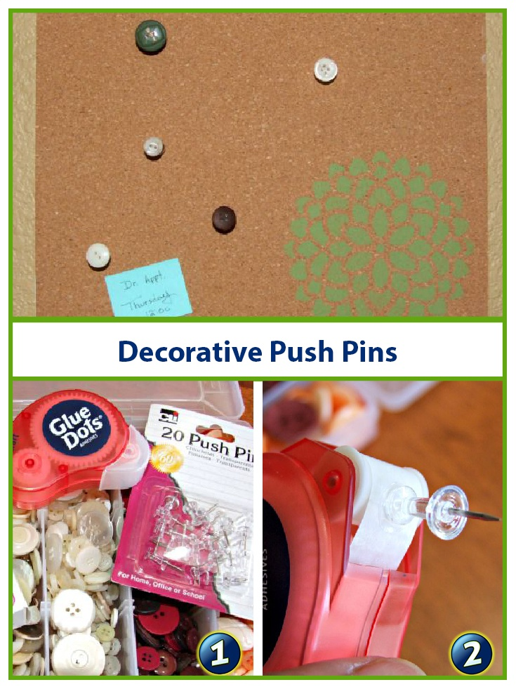 How to make decorative push pins with Glue Dots and embellishments