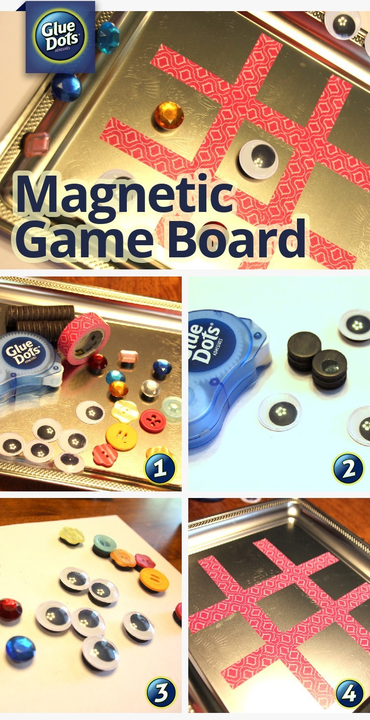 Make a summer board game with Glue Dots, magnets, and a few extra supplies from the dollar store.