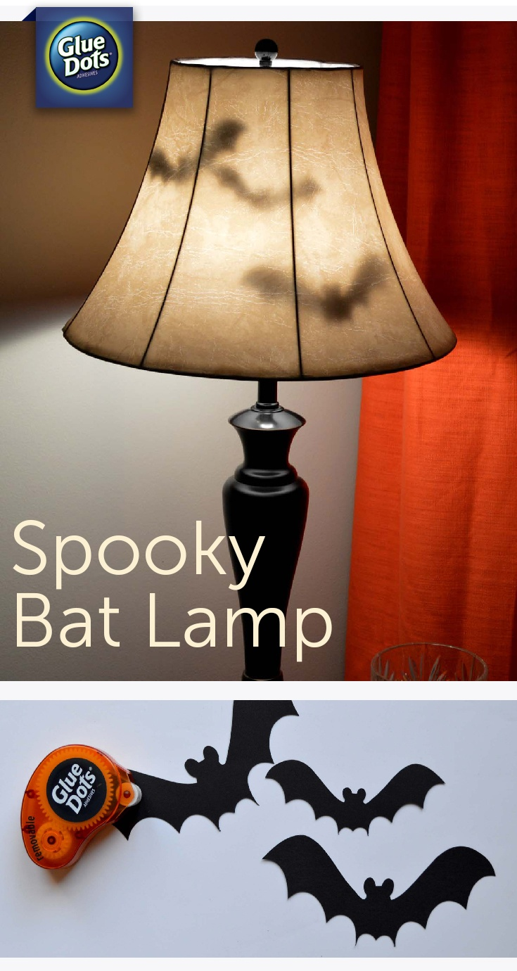 We love Halloween and easy decorating ideas. Make a Bat Lamp Halloween Decoration for your home with paper bats and Removable Glue Dots.