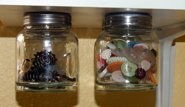 Under Shelf Organization - Jars filled
